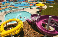 Family Open Spiral Slide Water Park Equipment , Blue Red Green Fiberglass Spiral Water Slide